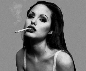 Angelina Jolie, cigarette, and black and white image