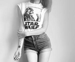girl, star wars, and black and white image