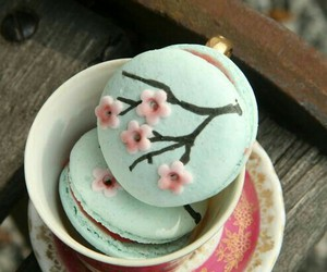 cup, macaron, and delicious image
