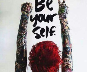 tattoo, be yourself, and red image