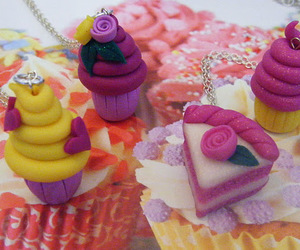 cake, cupcake, and necklaces image
