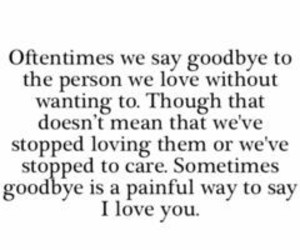 love, goodbye, and quote image