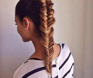 braid, brown hair, and brunette image