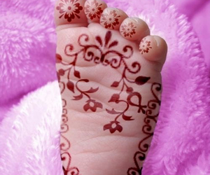 baby, henna, and feet image
