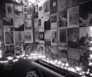 bedroom, black and white, and fairy lights image