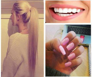 hair, smile, and nails image