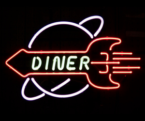 diner and neon sign image