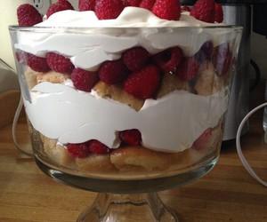 dessert, trifle, and raspberries image