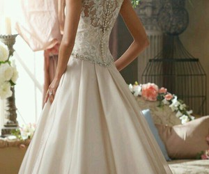 dress, wedding dress, and woman image