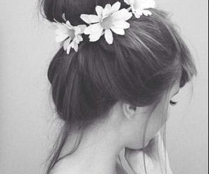 bun, flowers, and hair image