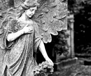 angel, antique, and black and white image