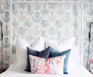 bed, bedroom, and pattern image