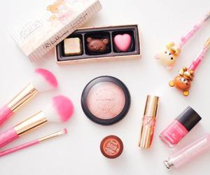 pink, makeup, and rilakkuma image