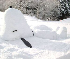 snoopy, snow, and winter image