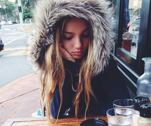 girl, winter, and coffee image