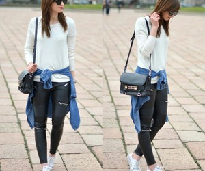 jeans, leggings, and long sleeve image