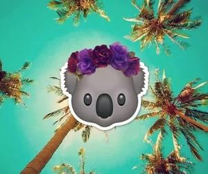 emoji, Koala, and background image