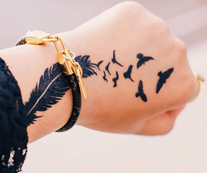 tattoo, bird, and feather image