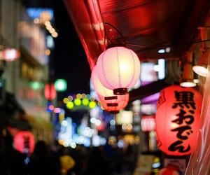city, japan, and lantern image