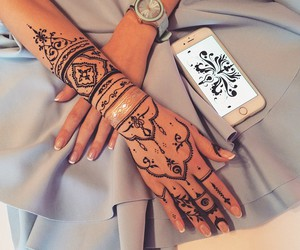 henna, henna art, and tattoo image