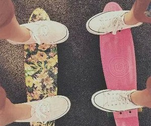 girls, shoes, and skate image