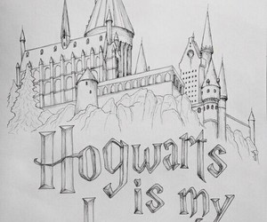 harry potter, hogwarts, and drawing image