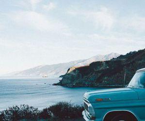 car, sea, and blue image