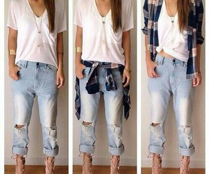 ripped jeans, shoes, and white t shirt image