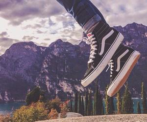 vans, jump, and landscape image