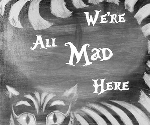mad, cat, and alice in wonderland image