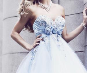 dress, blue, and rose image