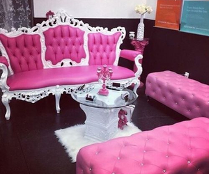 pink, sofa, and girly image