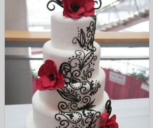 cake, red, and roses image