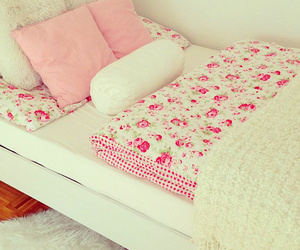 pink, bed, and room image