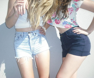 girl, friends, and shorts image