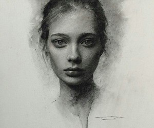 beautiful, girl, and pencil image