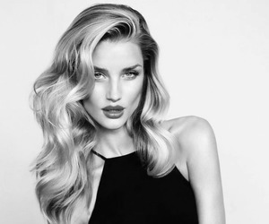 model, black and white, and hair image