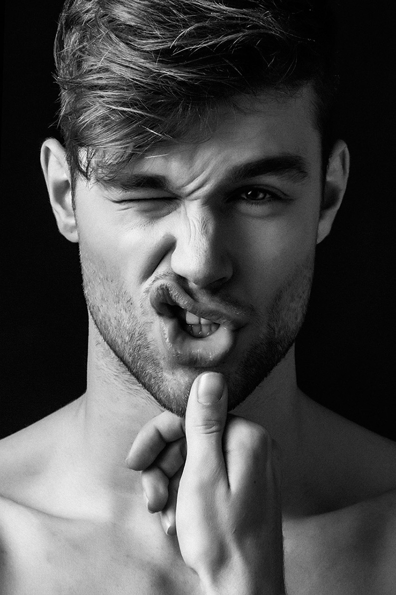 lips, black and white, and boy image