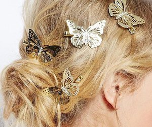 hair, butterfly, and cute image