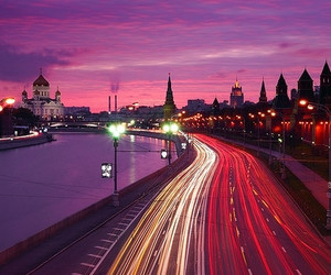 city, moscow, and lights image