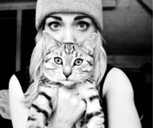 cat, girl, and black and white image