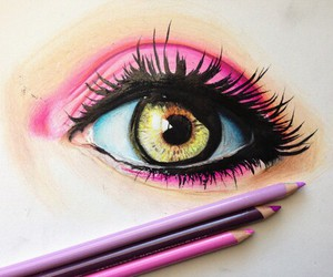 drawing, eye, and 3d image