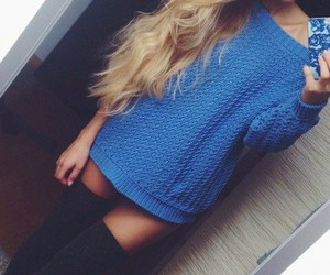 fashion, blue, and blonde image