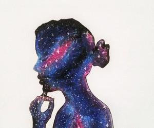galaxy, drawing, and girl image
