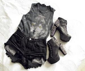 black, high heels, and rivets image