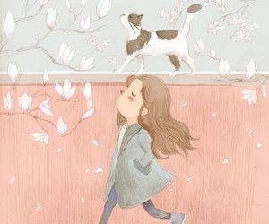 cat, spring, and girl image