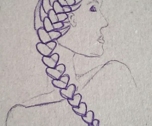 art, braided hair, and drawing image