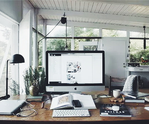 office, apple, and interior image