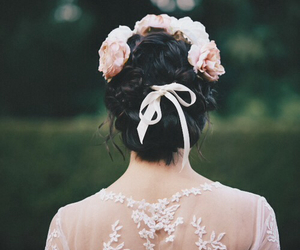 flowers, girl, and lace image