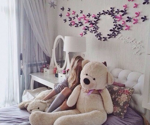 girl, room, and teddy image